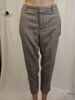 Womens Banana Republic Ryan Fit Cropped Pants Size 8P Petite Black White Plaid
