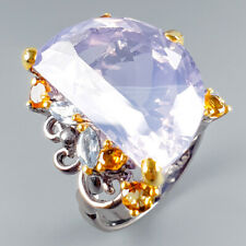 Top AA29ct+ Natural Lavender Amethyst 925 Sterling Silver Ring Size 9.5/R114918