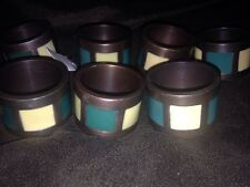 Lot of 6 Napkin Rings Pier 1 Imports Metal Teal & Cream