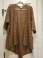 LULAROE Lindsay Cardigan Brown Chevron Lace Stretch Kimono Sleeve, Small, BNWT