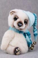 Louis white teddy bear handmade by Marta.ArtsToy