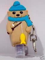 Bath & Body Works Light-Up PocketBac GREY BLU BEAR  Sanitizer Holder key chain
