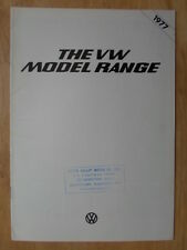 VOLKSWAGEN RANGE 1977 UK Mkt Sales Brochure - Type 2 Microbus Beetle Scirocco VW