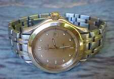 NICE SWISS OMEGA 120M SEAMASTER STEEL & 18KT GOLD MENS QUARTZ 35MM WRIST WATCH