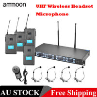 4 Channel UHF Wireless Headset Microphone System 4 Mics 1 Wireless Receiver