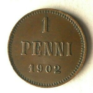 1902 FINLAND PENNI - High Quality Vintage Coin - LOW MINTAGE - Lot #L24