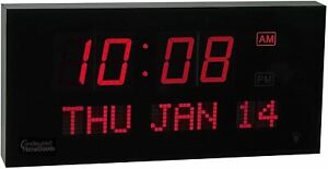 Big Oversized Digital LED Calendar Clock with Day and Date - Red