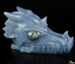 "5.0"" BLUE AVENTURINE Carved Crystal Dragon Skull, Labradorite Eyes"