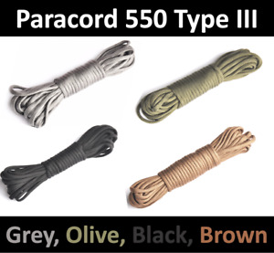 550 Paracord 7 Strand 4mm Type III Survival Cord Rope Colour 15, 25, 50, 100 ft