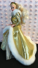 Barbie Doll Superstar Green Eyes Holidays Gown Faux Fur Jewelry Vtg 80s Mattel