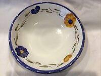"Furio Italy LA SPEZIA Lg Coupe Soup Bowl 9 1/4"" Blue Yellow Flowers"