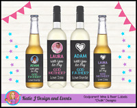 ** PERSONALISED Will You Be My GODPARENT? CHRISTENING WINE BOTTLE LABELS **
