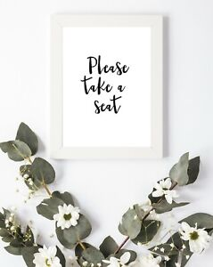 Typography Print A4 Quote Bathroom Take a Seat A5 A6 Quirky Loo Toilet Fun