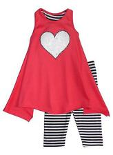 New Girls Boutique Peaches n Cream sz 5 Coral Black SEQUIN HEART outfit Clothes