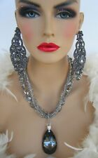 SMOKEY BLACK RHINESTONE NECKLACE CLIP EARRINGS PAGEANT STAGE DRAG QUEEN