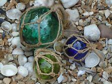 3 X Fishing Boat Net Floats Jade Green Blue - Buoys Blown Glass Balls - Bathroom
