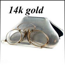 Antique 14K Gold Folding Spectacles, Pince Nez Reading Glasses and Aluminum Case