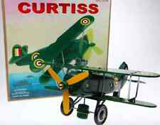 TIN TOY GREEN BI-PLANE WIND UP PLANE ROLLS & PROP SPINS GREAT COLLECTIBLE