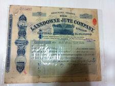 LANSDOWNE JUTE CO VIGNETTED STOCK SHARE CERTIFICATE RED EMBOSS REV LONDON 1918