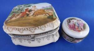 2x Vintage LIMOGES era Porcelain Vanity Dressing Table Boxes Neoclassical scene