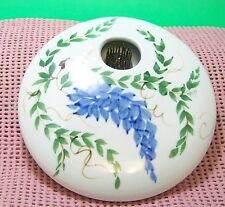 Ikebana Japanese flower arranging vase,round, porcelain with permanent frog, xlr