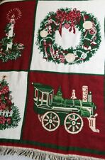 Red Christmas Themed Tapestry Throw Blanket Wall Chair Decor Holiday