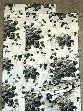 2 Waverly Sweet Violet Curtain Panels 42x63 Purple White Floral Flowers Tiebacks
