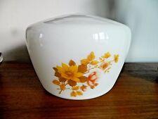 Grande rétro vintage large blanc abat-jour en verre plafond ou lampe jaune fleur design