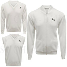 Men Golf Bowling V-Neck Knitted White Sleeveless Jumper Tank Top Cardigan Zipper