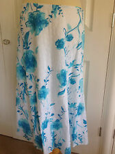 PER UNA @ M&S beautiful white & turquoise embroidered cotton A line skirt UK 12
