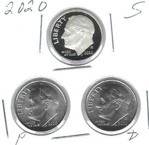 2020-S San Francisco Proof Roosevelt Dime Plus BU Philadelphia, Denver (3 Coins)