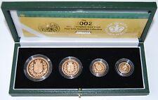 2002 Royal Mint Golden Jubilee AGW 62 Gms Gold Proof 4 Coin Sov Set Boxed COA