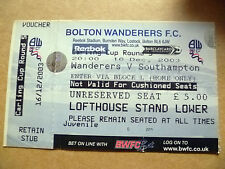 Ticket- BOLTON WANDERERS v SOUTHAMPTON, Carling Cup 3rd RD, 16 December 2003