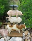PIG LAMB COW Candle Holder Stand Primitive Home French Country Farmhouse Decor