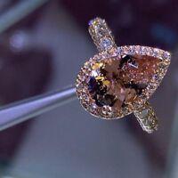 3.45Ct Pear Brilliant Cut Morganite Halo Engagement Ring 18K Rose Gold Finish