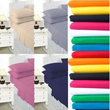 Full Fitted Bed Sheet 100% Poly Cotton Single Double King Super 6 Sizes 25CM