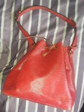 Auth  Vintage Louis Vuitton Red Epi Leather Petit Noe Drawstring, Bucket Bag