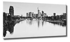 Leinwand Bild Frankfurt Skyline Schwarzweiß Wasser Spiegelung Bilder Städte XXL