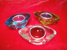 """6 Teelichthalter """"Lifestyle"""", massiv, 3 Farben: klar, grün + blau NEU + OVP"""