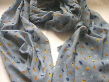 Blue Powder w Royal Yellow Brown Leaves Leaf Lightweight Ladies Scarf Pashmina