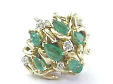 Fine Gem Green Emerald Diamond Cluster Yellow Gold Ring 14KT 1.43Ct