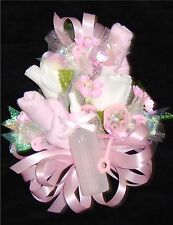 Baby Shower Corsage Pink Baby Socks &  Pink Ribbons Handmade