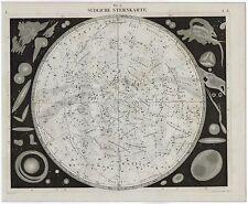 ANTIQUE PRINT VINTAGE 1851 ENGRAVING ASTRONOMY MAP SOUTHERN SKY ORIGINAL