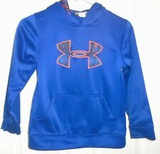 Under Armour Boy's Pullover Hoodie Royal Blue w/ Orange Trim Logo Size Youth XS