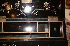Antique Japonese Meiji ca 1895 Black Laquer inlaid MOP Portable Desk Writing Box