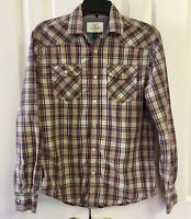 Flag & Anthem Men's S Western Snap Front Shirt Red Multicolor Plaid Long Sleeve
