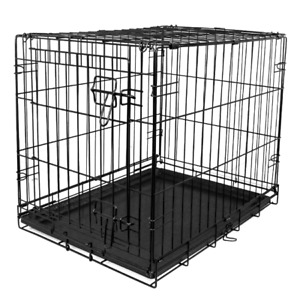 """Dog Crate Kennel 48"""" Folding Pet Cage Metal Single Door Large with Divider Tray"""