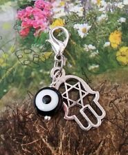 Hamsa Evil Eye Jewish Star of David  Silver Dangle Clip Charm Healing pendant 1""