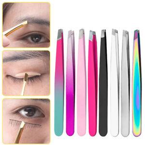 Professional Eyebrow Stainless Steel Tweezers Slant Hair Beauty Tweezer