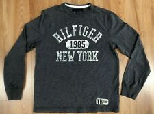 Tommy Hilfiger Men's Gray Long Sleeve Shirt New York Logo Tee, Size Small